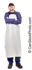 Smiling man dressed in apron Isolated on a white background...