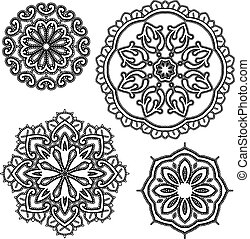 Set of Round floral lace ornaments - black on white background. Elements for holiday card, wedding invitation, vintage style design.
