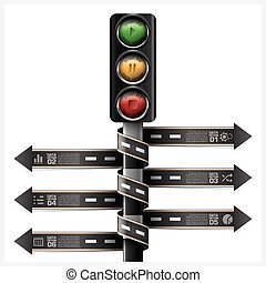 Road And Street With Traffic Light Sign Spiral Arrow tag Infographic Diagram