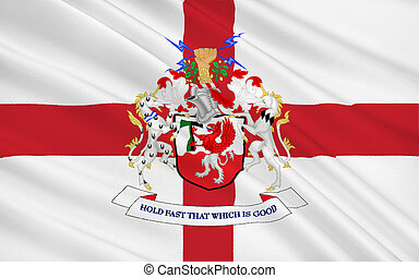 Flag of Metropolitan Borough of Trafford city, England -...