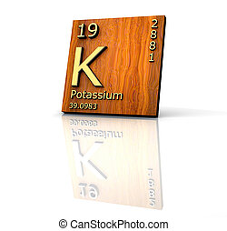 Potassium form Periodic Table of Elements - wood board