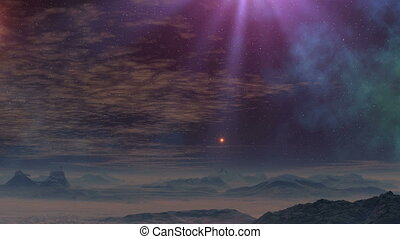 UFO flies up on a beam of light - The bright glowing object...