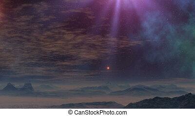 UFO flies up on a beam of light