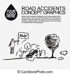 Road accident. The car crashed incident.