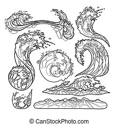 Ocean waves collection - Ocean storm waves collection drawn...