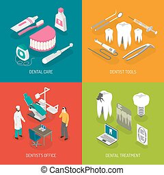 Dentist Concept 4 Flat Icons Square - Dentist care concept 4...