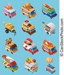 Street Food Trucks Isometric Icons Set - Street food trucks...