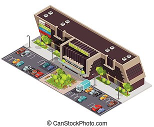Shopping Center Mall Complex Isometric Composition -...
