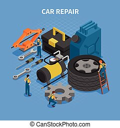 Car Repair Tools Isometric Concept - Isometric concept with...