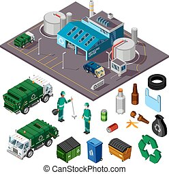 Recycling Center Isometric Design Concept - Recycling center...