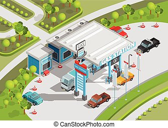 Isometric Composition Of Gas Station - Isometric poster of...