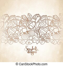 Graphic seashells border - Collection of seashells drawn in...