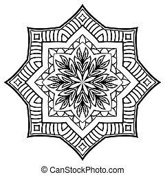 Vector striped mandala. - Vector contour mandala on a white...