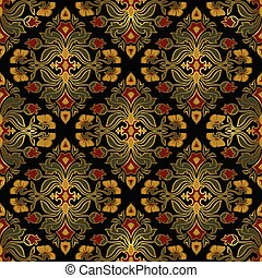 Rich floral ornament with damask. - Oriental, floral...