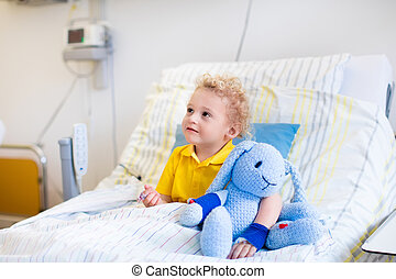 Little boy in hospital room