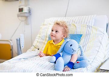 poco, niño, en, hospital, habitación,