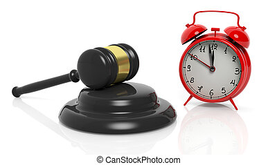 3D rendering of gavel and red alarm clock, isolated on white...