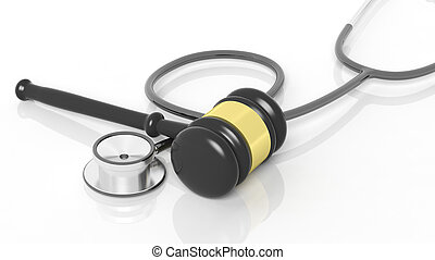 3D rendering of gavel and stethoscope, isolated on white background.