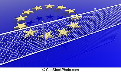 European, Union, flag's, stars, behind, silver, fence, 3D,...