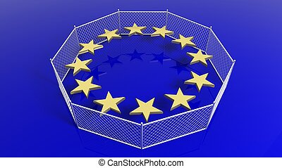 Silver fence around European Union flag's stars, 3D rendering.