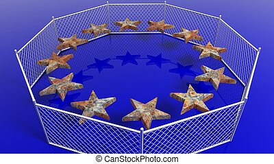 Silver fence around European Union flag's rusty stars,3D rendering.