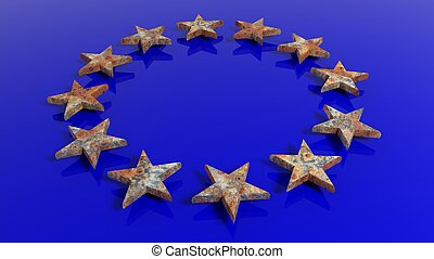 3D rendering of European Union flag with rusty stars, conceptual.