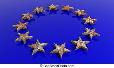 3D, fazendo, de, europeu, união, bandeira, com, Enferrujado,...