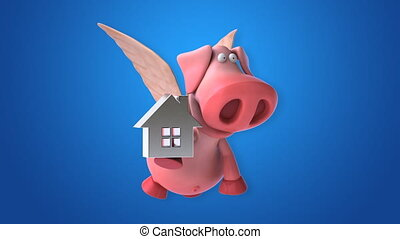 Flying pig - computer animation