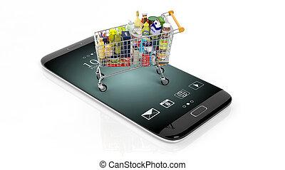 3D rendering of supermarket cart on smartphone's screen,...