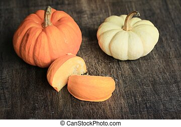 Fancy pumpkins white and orange