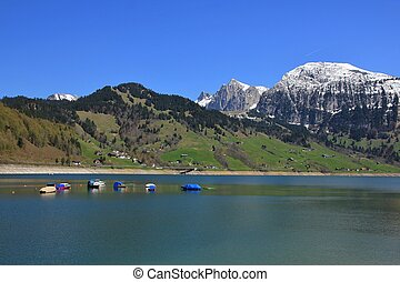 Springtime at Lake Waegital - Spring scene in the Swiss Alps...