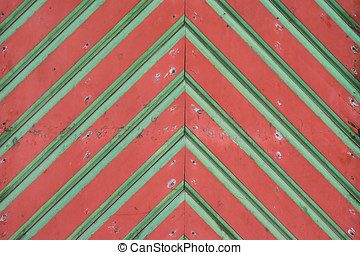 Colorful old wooden gates closeup