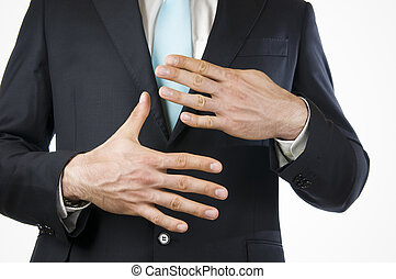 finger nine - Ventral view of a young man in a black suit...