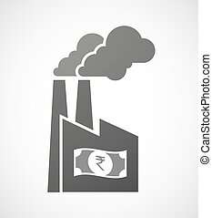 Isolated industrial factory icon with a rupee bank note icon...