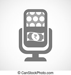 Isolated mic icon with a rupee bank note icon - Illustration...