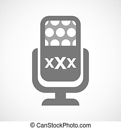 Isolated mic icon with a XXX letter icon - Illustration of...