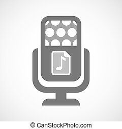 Isolated mic icon with a music score icon - Illustration of...