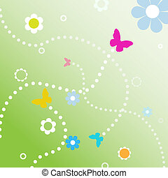 BuButterflies fly dotted line paths on spring flowers -...