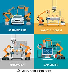 Automation Concept Icons Set - Automation concept icons set...