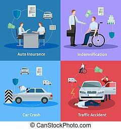 Auto Insurance Concept - Auto insurance concept with car...