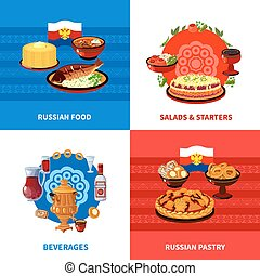 Russian Food 4 Flat Icons Square - Russian traditional food...