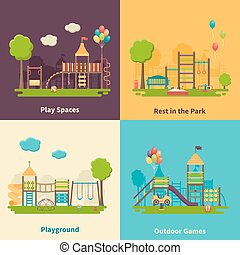 Playground Concept Flat - Color flat composition 2x2...