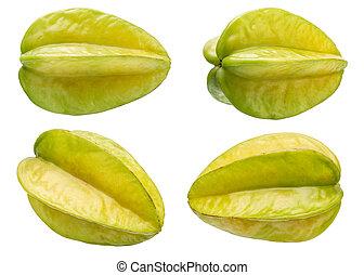 Fresh Carambola - A Set of Fresh Carambola Isolated on White...