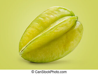 Fresh Carambola Isolated on Green Background in Full Depth...