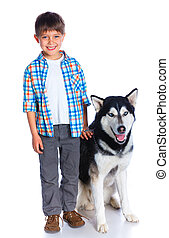 Boy with her dog husky - Cute boy with her dog husky...