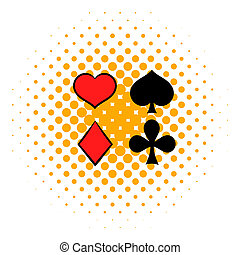 Playing card suit in black and red icon in comics style on a...