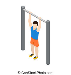 Man doing pull-up icon, isometric 3d style