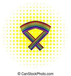 Rainbow ribbon icon, comics style - Rainbow ribbon icon in...