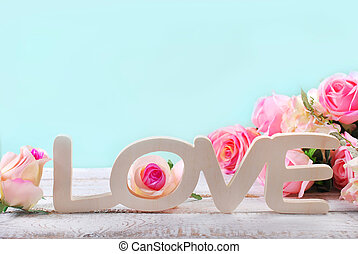 romantic love background in pastel colors with standing...