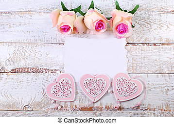 romantic love background with blank card for own text,hearts...